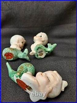 3 Vintage Bradley Mermaid Wall Plaque Figurine Porcelain Bisque