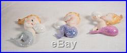 3 Vintage Norcrest Bubble Baby Mermaid Wall Plaque Figurine