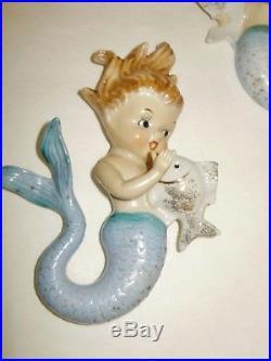3 Vintage Norcrest Ceramic Mermaids Holding Fish Wall Plaque Figurine