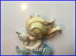 3 Vintage Norcrest Mermaid Holding Fish Wall Plaque Figurines P659