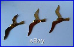 3 Vintage Original French Art Deco Brass Flying Birds Wall Plaques