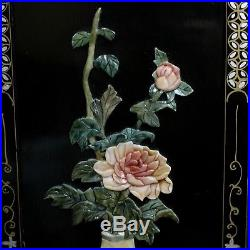 3 Vtg 36 x 12 Black Lacquer Asian Flowers Vases Carved Wall Art Panel Plaque