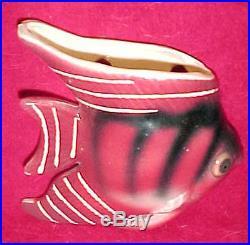 3 Vtg CERAMIC FISH Lot Wall Pocket Plaque RARE Planter Set Bathroom Mermaid