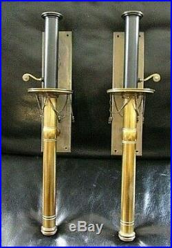 3 Vtg Hollywood Regency Chapman Cooper era Wall Sconces Pair + 1 Candle Brass
