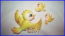 3 Vtg MCM Lefton Yellow Mom Baby Bird Family Anthropomorphic Wall Plaque Hanging