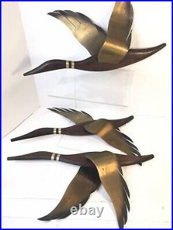 3 Vtg MCM Wood With Brass Copper Wall Art Hanging Sculpture Large Flying Geese