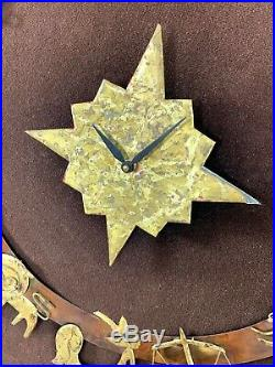 33x33 Vintage Mid Century Modern Brutalist Brass Zodiac Clock Wall Art Sculpture