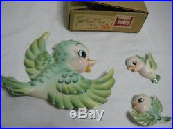 3pc. Vintage Lefton's Green Bird Wall Plaques in Original Box
