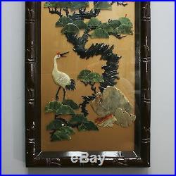 4 Vintage 39 x 14 Japanese Four Seasons Carved Wall Art Panel Plaque Bird Deer