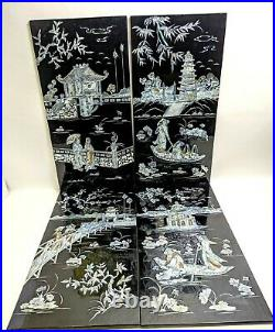 4 Vintage Black Lacquer CHINESE Wall ART MOTHER of PEARL Inlay PLAQUES Beautiful