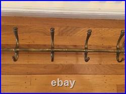 41 Vintage 5-hook BRASS HORSE HEAD wall mount rack hanger