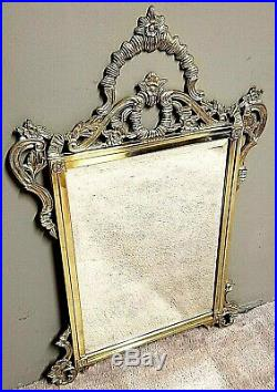 44 x 28 True Vintage Ornate SOLID Brass Beveled Mirror Wall Hanging