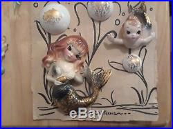 5 pc Vintage RARE DEFOREST Ceramic MERMAID & MERBABY Wall plaque Figurine set