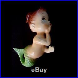 50's Vintage Japan Tummy Baby Mermaid Wall Plaque hangings for Bath