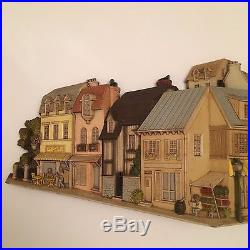 55 Vintage 1970s Cityscape Molded Plastic Painted Wall Plaque Burwood Product