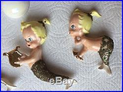 5pc Vintage Ceramic MERMAID Babies & Bubbles Bathroom Art Wall Plaque/Hanging
