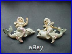A Pair Of Vintage Mermaids Riding A Dolphin Wall Plaques Lefton, Napco, Japan