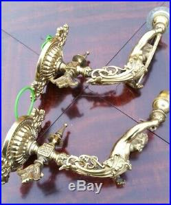 A Pair of Beautiful Vintage Brass Cherub Wall Sconces