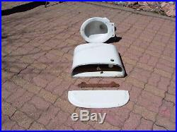 ANTIQUE VINTAGE TOILET with CAST IRON WALL MOUNTED TANK BRASS FIXTURES / HARWARE