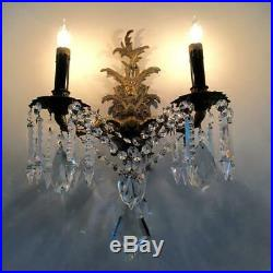 ANTIQUE VTG BRASS PETITE CHANDELIER SCONCE WALL LAMP PAIR w XL BOHEMIAN CRYSTALS