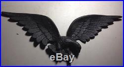 ANTIQUE VTG CAST IRON 24 BALD EAGLE WALL DECOR PRIMITIVE PLAQUE Black Metal ART
