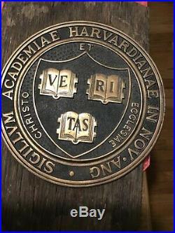 ANTIQUE Vintage Harvard University Brass Plaque Wall Crest seal Motto