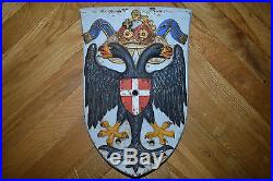 AUSTRIA EMPIRE Train LOCOMOTIVE Coat of Arms Crest wall plaque CAST IRON WWI Vtg