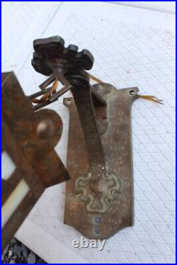 Antique Arts & Crafts Mission Hammered Copper Brass Wall Light Sconce Slag Glass