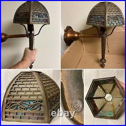 Antique Bradley And Hubbard Brass Wall Sconce With Slag Glass Shade