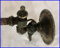 Antique Brass Gas Light Wall Fittings, Matched Pair x 2, Converted, Swan Neck