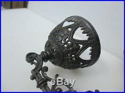 Antique Brass Oil Lamp & Iron Wall bracket Holder Vintage Chimney Shade Old 1897