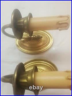 Antique Brass Pair early electric single candle wall sconces Original Finish