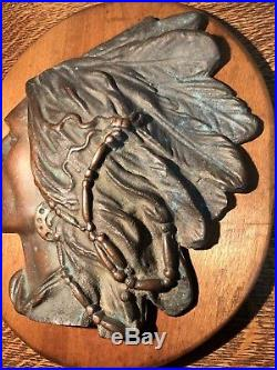 Antique Bronze Native American Indian Chief withfull Headdress Wall Hanging Plaque