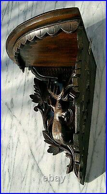 Antique C1900 Swiss Black Forest Hand Carved Stag Corner Shelf Bracket 13.25