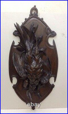 Antique Carved Pheasant, Oak Wood Sculpture, Hunting Game, Wall Plaque, Russian