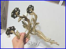 Antique Cast Brass Wall Lights Sconces Gilt Leaf Old Rococo Old Light Vintage