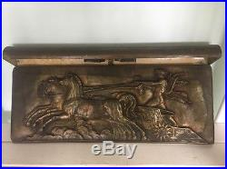 Antique Cast Brass Wall Plaque Light Lamp Vintage Old Roman Horses & Chariot