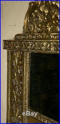 Antique Dutch Copper Vintage Repouse Jugenstil Brass Hall Wall Mirror Glass Art