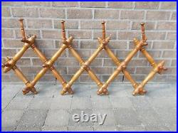 Antique Faux Bamboo French Turned Wood Brass Button Coat Hat Rack Wall Mount
