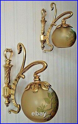 Antique French Art Deco Nouveau Chandelier Bronze Cameo Glass Wall sconces Lamp