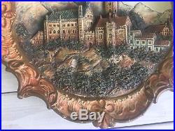 Antique German Wall Plaque Wartburg Castle #3170 JS Medium Relief 15 Vintage
