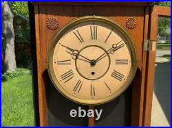 Antique Gilbert Oak Wall Regulator Hotel Clock Ornate & Detailed 8 Day Movement