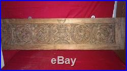 Antique Hand Floral Carved Wall Hanging Wooden Panel Vintage Home Decor Plaque