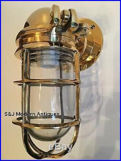 Antique Industrial Wall Light Vintage Cage Bulkhead Gold Brass Ship Lamp Old