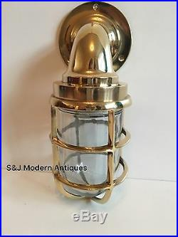 Antique Industrial Wall Light Vintage Retro Cage Bulkhead Gold Brass Ship Lamp