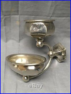 Antique Nickel Brass Wall Mount Cup Holder Soap Dish Vtg S Sternau Bath 373-17E