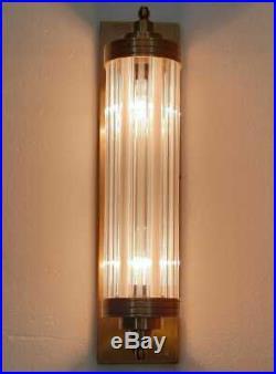 Antique Old Vintage Art Deco Brass & Glass Rod Light Fixture Wall Sconces Lamp