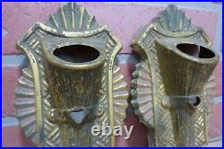 Antique Pair Brass Wall Sconce Light Covers ornate detail architectural hardware