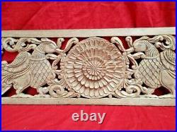 Antique Peacock Wall Wooden Panel Floral Carved Plaque Vintage Estate Home decor