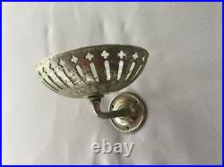 Antique S. Sternau Nickel Brass Wall Mount Sponge Soap Dish Holder Vtg 156-18J